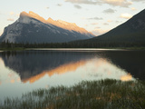 Canadian Rockies and Mount Rundle at Dusk  Seen from Vermillion Lakes