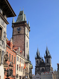Old Town Hall and Tyn Cathedral  Prague  Czech Republic  Europe
