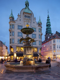 Nikolaj Church and Restaurants at Dusk  Armagertorv  Copenhagen  Denmark  Scandinavia  Europe