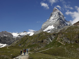 Hikers Below the Matterhorn  Zermatt  Valais  Swiss Alps  Switzerland  Europe