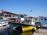 Boats and Restaurants Along the Harbour Quay  Nessebar  Black Sea  Bulgaria  Europe