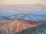 Early Sun on Snowy Blue Ridge Mountains Mount Pisgah in Distance