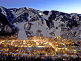 The Mountain Town of Aspen  Colorado  at Dusk in the Winter