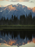 The Canadian Rockies at Dusk Seen from Vermillion Lakes