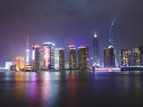 Pudong Skyline at Night across the Huangpu River  Shanghai  China  Asia