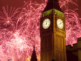 New Year Fireworks and Big Ben  Houses of Parliament  Westminster  London  England  United Kingdom