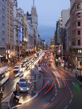 The Gran Via at Dusk  Madrid  Spain  Europe