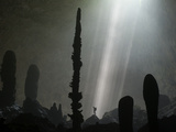 Streams of Light Unveil Stalagmites on the Floor of Hang Loong Con