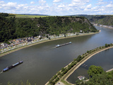 View from Loreley to St Goarshausen and the River Rhine  Rhine Valley  Rhineland-Palatinate  Germa