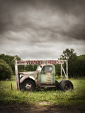An Old Truck with a 'Vermont Cheese' Sign on a Farm in Ludlow