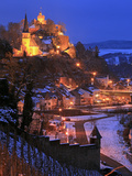 Od Town with Castle in Winter  Saarburg  Saar Valley  Rhineland-Palatinate  Germany  Europe