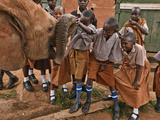 An Elephant Orphan Greets Schoolchildren Visiting Tsavo National Park