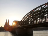 Hohenzollern Bridge over the River Rhine and Cathedral  Cologne  North Rhine Westphalia  Germany  E