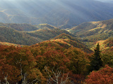 Blue Ridge Mountains in Autumn Hues with Rays of Sunlight