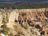 Tourists at Viewppoint  Bryce Canyon National Park  Utah  United States of America  North America