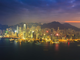 High View of the Hong Kong Island Skyline and Harbour at Sunset  Hong Kong  China  Asia