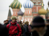 A Backpacker Near St Basil's Cathedral in Red Square
