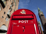 Red Post Box  City Hall Square  Copenhagen  Denmark  Scandinavia  Europe