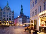 Nikolaj Church and Restaurants at Dusk  Armagertorv  Copenhagen  Denmark  Scandinavia  Europe