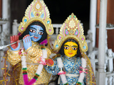 Deities Sri Krishna and Sri Radhika (Radha) in the Lalji Temple  Kalna  West Bengal  India  Asia