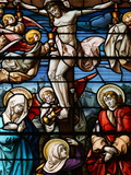 Stained Glass of the Crucifixion  San Jeronimo's Church  Madrid  Spain  Europe