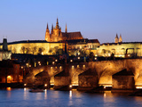 Prague Castle on the Skyline and the Charles Bridge over the River Vltava  UNESCO World Heritage Si