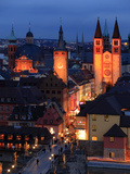 Old Town with Cathedral and Old Main Bridge  Wurzburg  Franconia  Bavaria  Germany  Europe