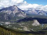View from Sulphur Mountain to Banff  Banff National Park  UNESCO World Heritage Site  Alberta  Rock