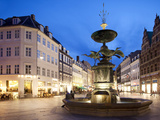 Restaurants and Fountain at Dusk  Armagertorv  Copenhagen  Denmark  Scandinavia  Europe