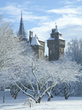 Cardiff Castle in Snow  Bute Park  South Wales  Wales  United Kingdom  Europe