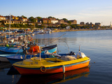 Fishing Boats and View Towards Ramparts and Ruins of the Medieval Fortification Walls  Nessebar  Bl