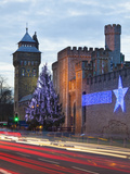 Cardiff Castle with Christmas Lights and Traffic Light Trails  Cardiff  South Wales  Wales  United