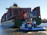 Container Ship on the River Elbe  Hamburg  Germany  Europe