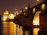 Charles Bridge over the River Vltava at Night  UNESCO World Heritage Site  Prague  Czech Republic