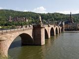 Old Bridge over the River Neckar  Old Town and Castle  Heidelberg  Baden-Wurttemberg  Germany  Euro