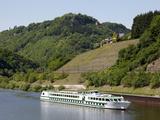 Cruise Vessel on River Saar Near Serrig  Rhineland-Palatinate  Germany  Europe
