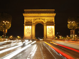 Arc De Triomphe and Champs Elysees at Night  Paris  France  Europe
