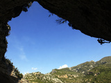 A Climber Tackles an Overhanging Climb in the Mascun Canyon  Rodellar  Aragon  Spain  Europe