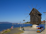 Historical Wooden Windmill on the Isthmus and Small Sightseeing Tourist Train  Nessebar  Black Sea