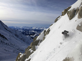 A Snowboarder Tackles a Challenging Off Piste Descent on Mont Blanc  Chamonix  Haute Savoie  French