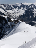 Climbers on Mont Blanc  Aiguille Du Midi  Mont Blanc Massif  Haute Savoie  French Alps  France  Eur