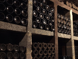 Wine Bottles in Wine Cellar  Saarburg  Saar Valley  Rhineland-Palatinate  Germany  Europe