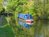 A Narrow Boat on the Stratford Upon Avon Canal  Preston Bagot Flight of Locks  Warwickshire  Midlan