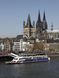 Church of Great Saint Martin and Cathedral  Seen across the River Rhine  Cologne  North Rhine Westp