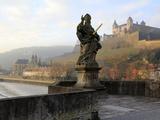 Old Main Bridge over River Main and Fortress Marienberg Behind  Wurzburg  Franconia  Bavaria  Germa