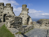 Remains of a Medieval Coastal Clifftop Castle  the Legendary Site of King Arthur's Camelot  Tintage