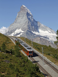 Gornergrat Railway in Front of the Matterhorn  Riffelberg  Zermatt  Valais  Swiss Alps  Switzerland