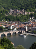 Old Bridge over the River Neckar  Old Town and Castle  Heidelberg  Baden-Wurttemberg  Germany  Euro