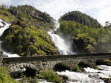 Latefossen Waterfall Near Odda  Hordaland  Norway  Scandinavia  Europe