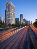 The 110 Harbour Freeway and Downtown Los Angeles Skyline  California  United States of America  Nor